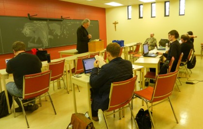 Rev. Schulz speaks to a dogmatics class