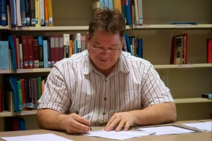 Jeff Swords at work in the library