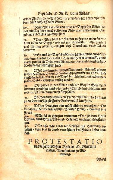 95 Theses, Luther's Werke (Jena edition), BR 330 .A2 1575 Vol.1