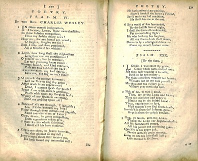Charles Wesley poem on the Psalms, The Arminian Magazine: Consisting of Extracts and Original Treatises on Universal Redemption, January - December 1797, Vol. 20 BX 6195 1797
