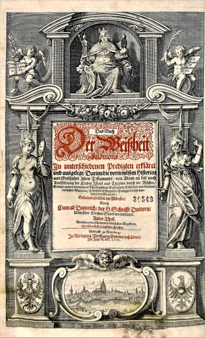 Conrad Dieterich, Frontispiece, Das Buch der Weissheit Salomonis,BX 8066 .A6 D566 1657 Vol.2