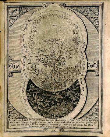 Frontispiece with image of Adam and Eve in the garden of Eden, Biblia Pentapla, BS 235 1711 Vol.1