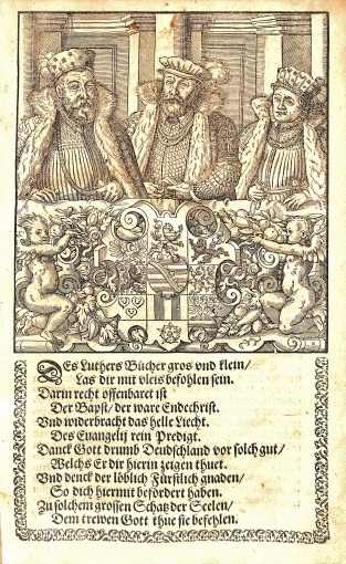 Image and poem from Volume 1 of Luther's Works Jena edition, Aller Bücher und Schrifften des thewren und seligen mans Gottes, BR 330 .A2 1575 Vol.1