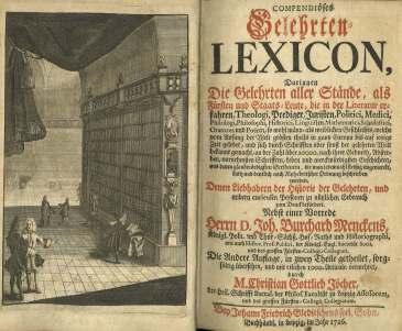 Frontispiece from Johann Mencken Compendioses Gelehrten-Lexicon, Z 1010 .M53 1726