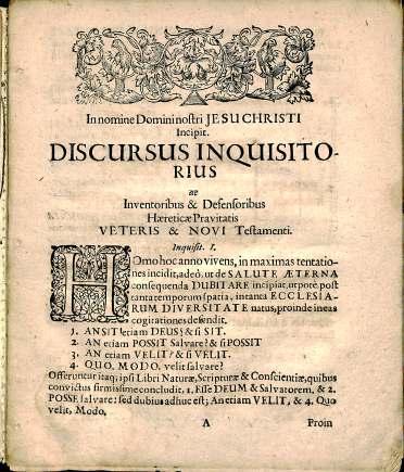 Pamphlet, Paulus Broderus, Discursus inqvisitorivs de inventoribus et defensoribus haereticae pravitatis Veteris et Novi Testamenti, BT 761 .P2 1650