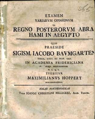 Siegmund Jakob Baumgarten, Regno Posterorum Abrahami in Aegypto, BS 580 .A3 .B38 1744