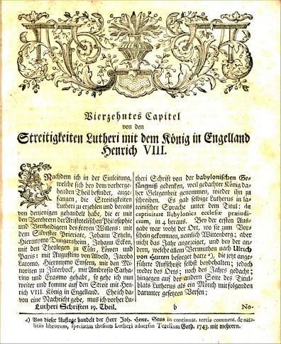 Johann Walch, text on Henry the VIII, Luther's Werke, BR 330 .E5 vol.19 1746, p.1