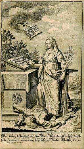 Frontispiece engraving by Johann Michael Seligmann, from Christliches Concordienbuch, BX 8068 .A2 1750