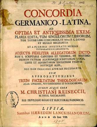Concordia Germanico-Latina title page, BX 8068 .A15 1708