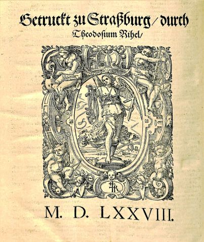 Woodcut from the last page of Flavius Josephus 1574 book, Hochberühmten Jüdischen Geschichtschreibers, Historien vnd Bücher, 1574