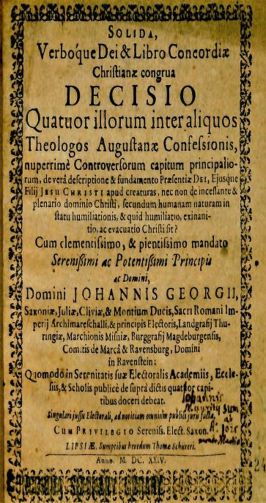 Title page from Johannis Georg's Solida verboque Dei & libro concordiæ Christianæ, 1624