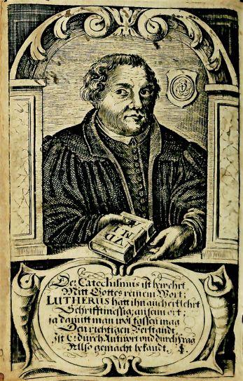 Martin Luther frontispiece, Kinderlehr=buchlein darinnen der kleine Catechismus, BX 8070 .L7 1665