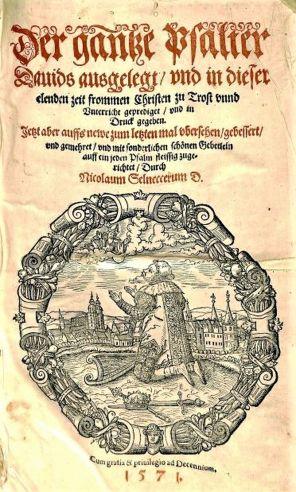 Title page from Nicholaus Selneccer's Der gantze Psalter Dauids aussgelegt, 1571