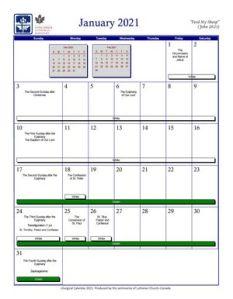Liturgical Calendar 2021 – Concordia Lutheran Theological Seminary